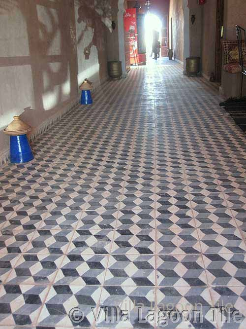 Restaurant hallway in cement tile