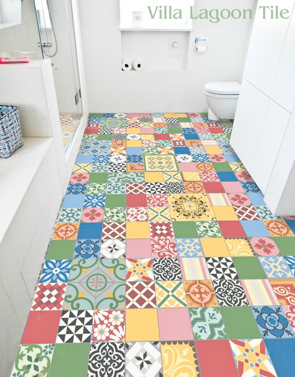 Colorful patchwork cement tile in stock villa lagoon tile for Patchwork carreaux de ciment