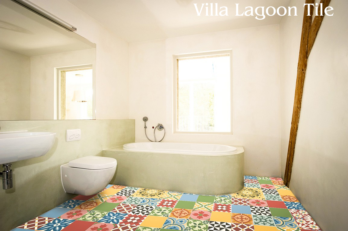 Charming Patchwork Cement Tile Bathroom Floor Pictures