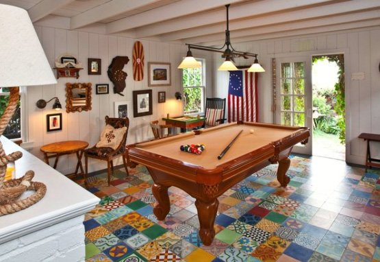 Los Angeles patchwork tile pool table room