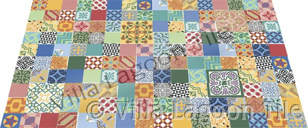 Patchwork floor tile designs