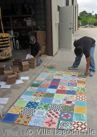 Patchwork tile in cement