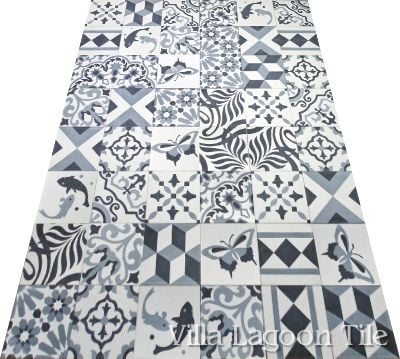Black and white patchwork cement tile