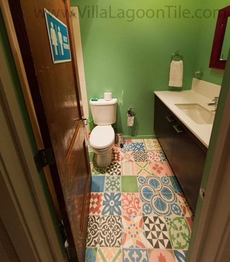 Patchwork tile bathroom floor