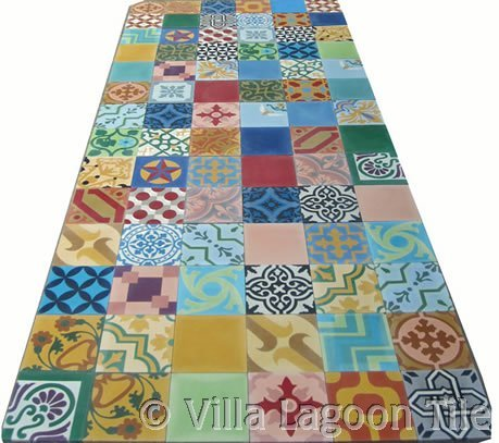 Patchwork encaustic cement tile