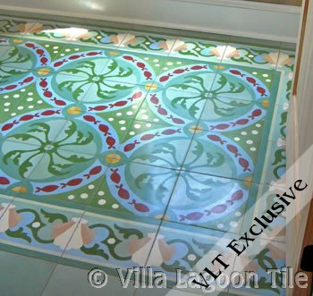 Cement tile floor with fish and shells