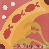 Fish tile in Coral