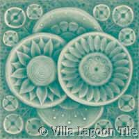 blue gray glazed ceramic antique tile