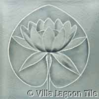 lily pad relief ceramic tile