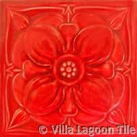 red glazed rose ceramic tile