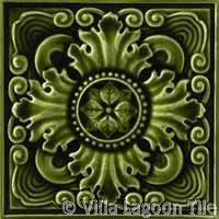 Fancy deep green relief antique tile
