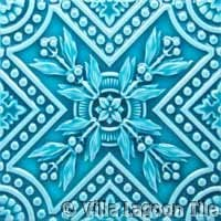 Aqua crackle glazed ceramic relief tile