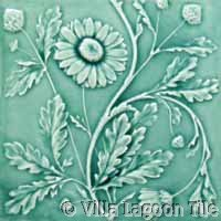 floral relief glazed tile