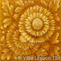 Floral crackle glazed antique fireplace tile