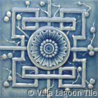 Blue crackle glazed chinese relief tile