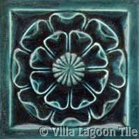 Deep teal green glazed ceramic tile for fireplaces and backsplashes