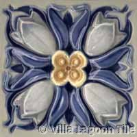 Crocus flower tile in blue and grey glazes