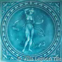 Glazed tile with nude lady