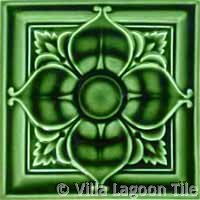 Green glazed historic tile