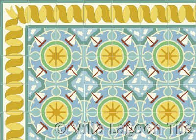 Ribbon Tile Border on Sailboat Sunny Day Field Tile Floor