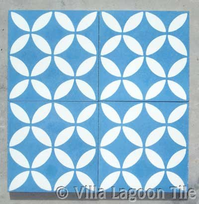 Caribbean cement tile for Blue and white cement tile
