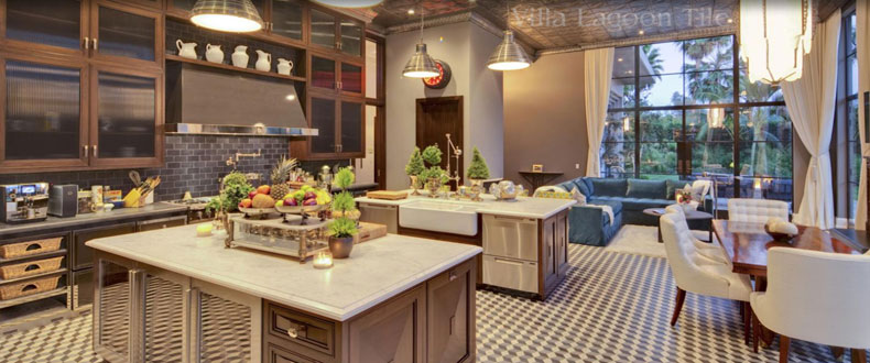 cubes cement tile in a los angeles kitchen