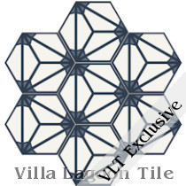 Fireburst Hex Cement Tile, from Villa Lagoon Tile