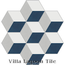 Hex Cubes Grande Cement Tile, from Villa Lagoon Tile