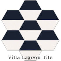 Hex Fifty-Fifty Cement Tile, from Villa Lagoon Tile