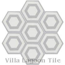"""Hex Halo Three A"" Cement Tile"