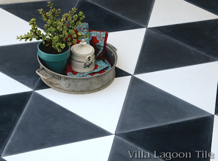 """Troika"" Triangular Cement Tile, in Black, White, and Seagull from Villa Lagoon Tile"