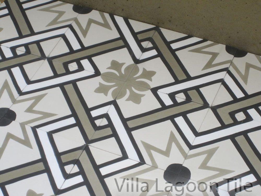 Orleans Pattern Cement Tile Black and White