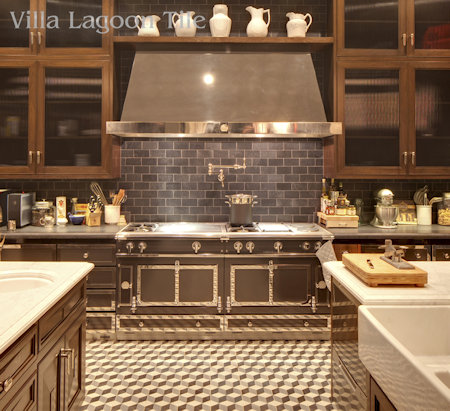 Los Angeles home with cement tile kitchen floor from Villa Lagoon Tile