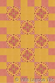 Coral cement tile floor design