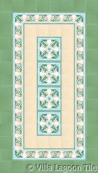 cement tile green flooring design
