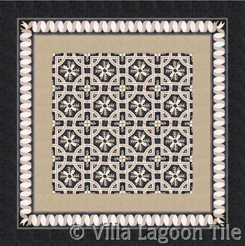 Trapani cement tile in black and taupe neutrals