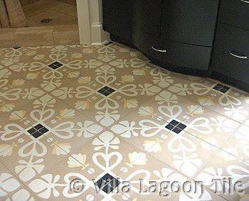 Taupe and White cement floor tile