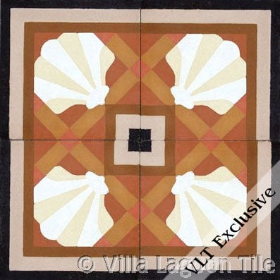 trellis shell russet cement tile design