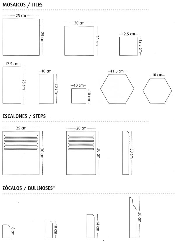 Cement tile sizes