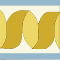 ribbon border tile in gold and blue