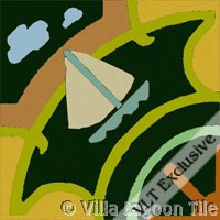 sailboat tile in dark colors
