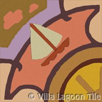 Sailboat Tile in Sunset Colors