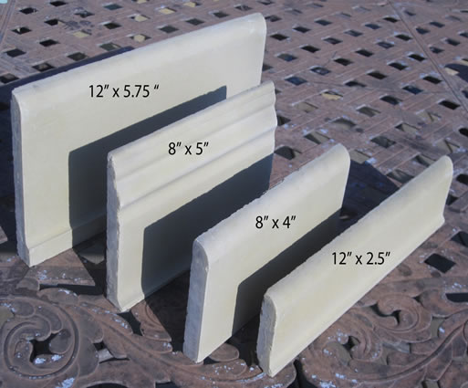 Cement tile trim tiles-baseboard and bull nose tile