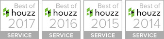 Best of Houzz service award badges for 2014, 2015, 2016, and 2017.