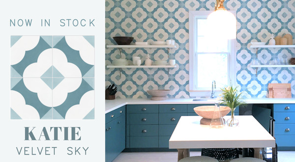 """Katie Velvet Sky"" Cement Tile, from Villa Lagoon Tile"