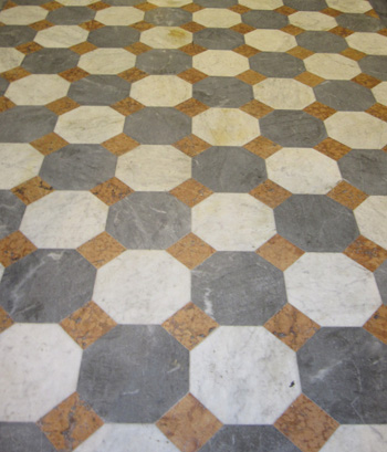 Italian marble tiles in classic patterns