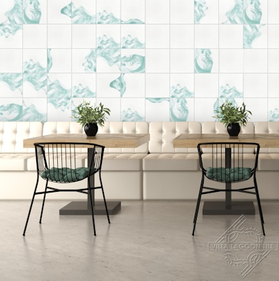 Villa Lagoon Tile's watercolor cement tile behind booth seating..