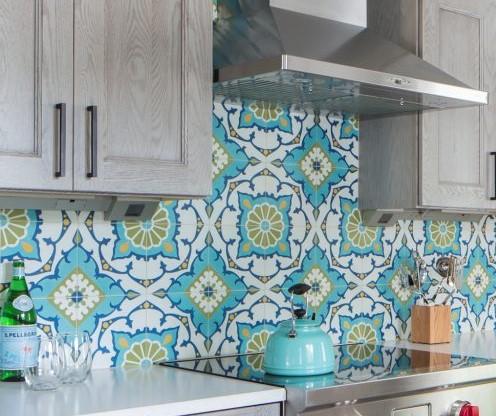 """Amalena Meadow"" cement tile kitchen backsplash, from Villa Lagoon Tile."