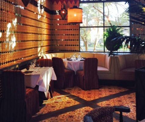 California restaurant floor with cement tile, from Villa Lagoon Tile.