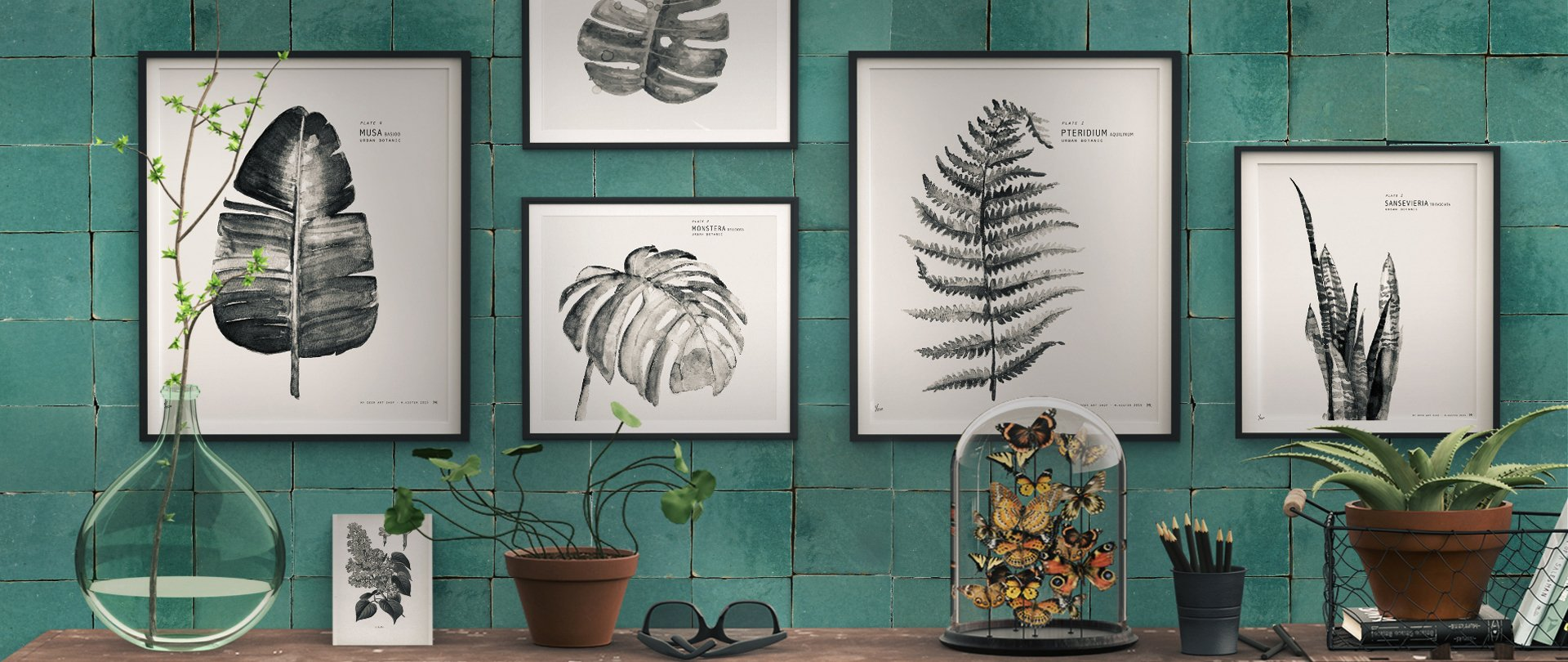 Teal botanical wall display, using Glazed Zellige Tiles in Waterfall, from Villa Lagoon Tile.